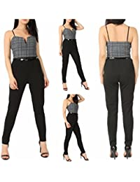 NEW WOMENS JUMPSUIT LADIES CAMI ADJUSTABLE STRAP V CUT CHECKED PRINT TOP BELTED ALL IN ONE PLAYSUIT CATSUIT