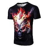 Feuer Schädel Druck Herren T-Shirt T-Shirts Shirts Kurzarm Bluse Tops GreatestPAK,Schwarz,L