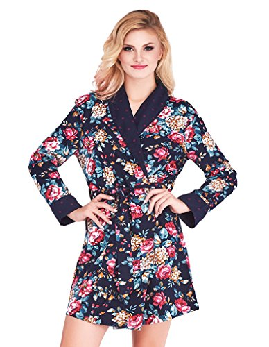 Mio Lounge Sally Dark Blue and Wine Floral Polka Dot Soft Brushed Cotton Robe ML16C2RB S-M