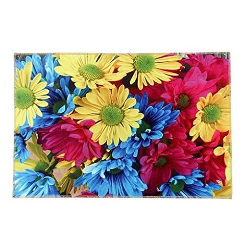 Iuhan Mode Soleil Fleur de porte de cuisine Tapis de salle de bain en mousse à mémoire absorbante Tapis antidérapant