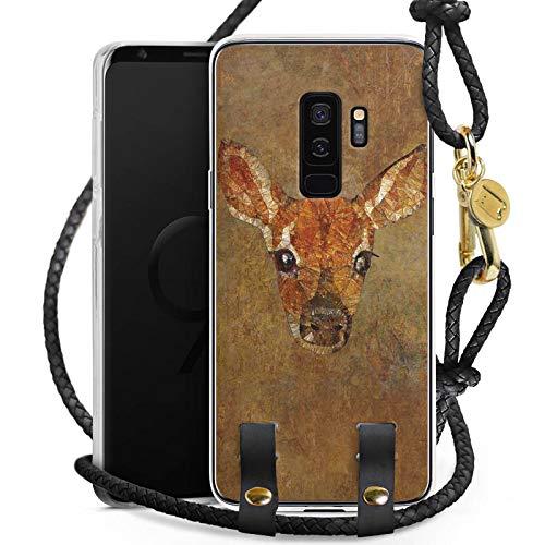 Getragen Reh (DeinDesign Carry Case kompatibel mit Samsung Galaxy S9 Plus Duos Hülle zum Umhängen Handykette REH Deer Wasserfarbe)