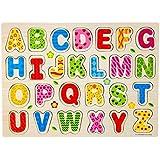 Tongshi 26pcs de madera del alfabeto inglés Rompecabezas de las cartas de juguetes educativos rompecabezas