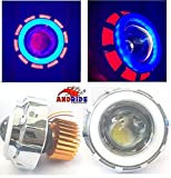 #9: Andride Projector Lamp High Intensity LED Headlight Stylish Dual Ring COB Inside Double Angel's Eye Ring Lens Projector For - All Bikes (Blue & White)