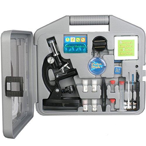 AMSCOPE Mikroskop Experimentiterkasten mit Präparierzubehör für Kinder 6 Vergrösserungseinstellungen: 120X - 1200X , 2016 ausgezeichnet als eines der Besten Mikroskope für Anfänger 52 Bestandteile