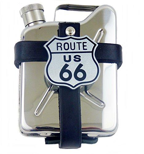 Gürteltasche aus Leder mit Flachmann Taschenflasche Kanister Edelstahl Route 66 -