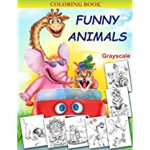 Funny Animals: Grayscale Coloring book