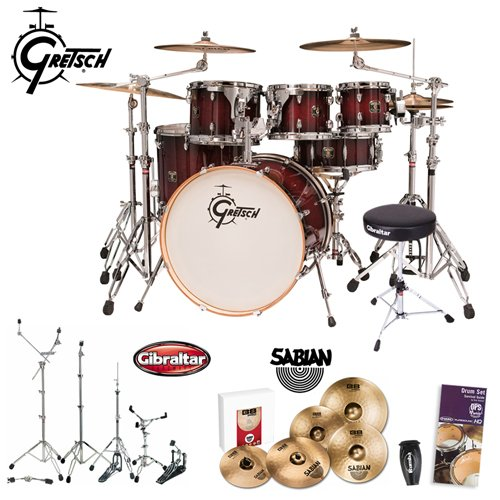 Gretsch CMT-E825P-DCB Catalina Maple Dark Cherry Burst 5-teiliges Shell Pack mit Drumset Guide, Shaker, Hardware, Thron & Becken