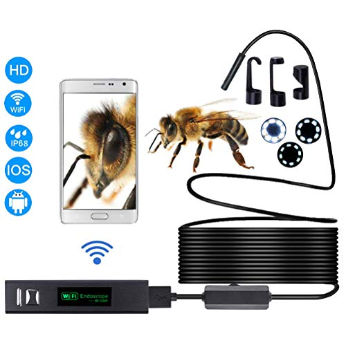 OD-B 1200P Halbstarres drahtloses Endoskop WiFi-Endoskop-Inspektionskamer 2,0 Megapixel HD-Schlangenkamera Für Android IOS Smartphone,10M