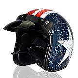 Woljay 3/4 Offener Sturzhelm, Helmet Motorrad-Helm Jet-Helm Scooter-Helm Vespa-Helm Halbhelme Adult Helm Flat mit Rebellen Blau + Weiß Star Graphic (XXL)