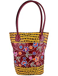 ZINT INDIAN SHANTINIKETAN VINTAGE PURE LEATHER WOMEN'S TOTE BAG / ETHNIC SHOPPING BAG / LARGE BOHO HIPPIE BAG / COLORFUL FLORAL BAG