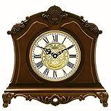 TtKj Horloge Ornements d'européen Solide Bois muet Horloge Heure Carillon Horloge de parquet en Bois rétro décoration 34,2 * 32,8 * 11,8 cm