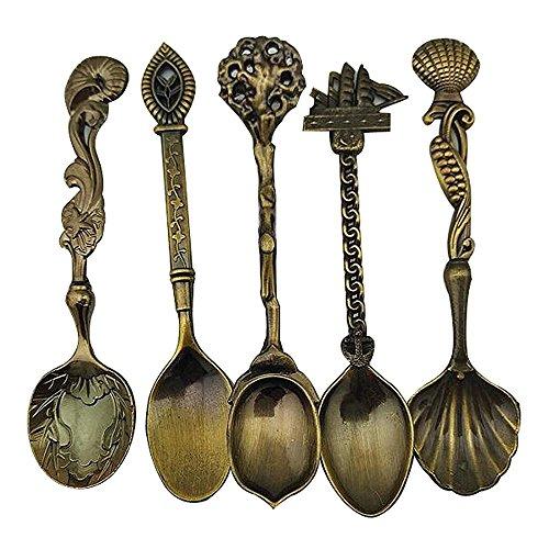 ShangRui Kreative Retro Kaffee-Schaufeln, rührender Löffel, Zuckerlöffel, Suppellöffel, Teelöffel 5pcs Sätze(Bronze)