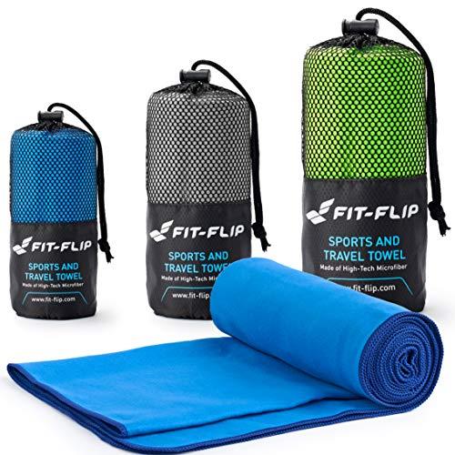 Fit-Flip Blau mit dunkelblauen Rand, 1x 200x100cm | microfaser Strandtuch microfaser Badetuch 200x100 microfaser Handtücher Set -