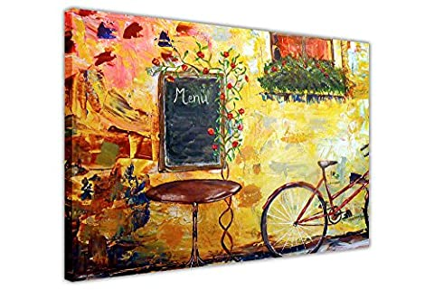 IDYLLIC CAFE WITH BICYCLE CANVAS PICTURES WALL ART PRINTS HOME