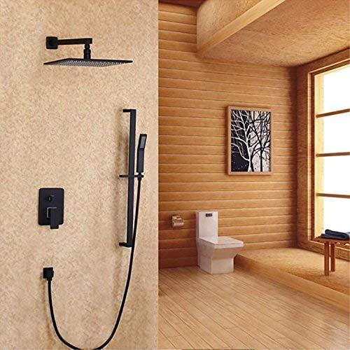 TYG Crop Dark Wall Installation, 2-Funktions-Duschset, Schwarzfurnier, Mischbatterie für warmes und kaltes Wasser, B,B, - 2 Gpm Flow Control