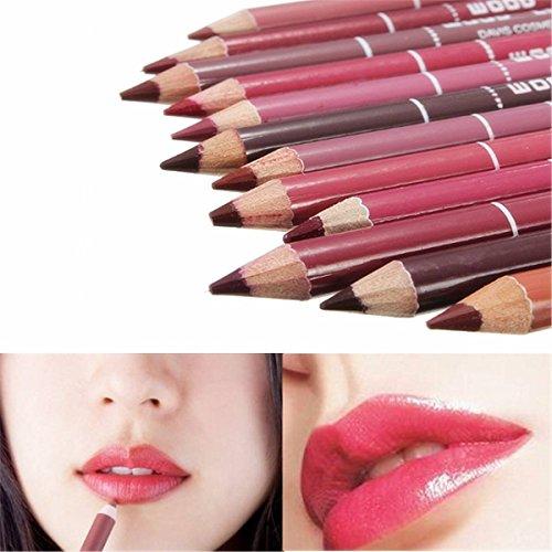 Demarkt 12pcs Multicolore Professionnel Imperméable Crayons A Levre Waterproof Lipliner Crayon Maquillage