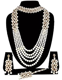 APSARA The Shining Diva Traditional Kundan Necklace Set With Off White Pearl Multi Layer Designer Gold Plated...