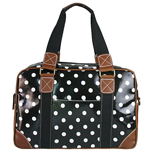 miss-lulu-ladies-polka-dot-oilcloth-travel-weekend-away-bag-black-l1106d2-bk