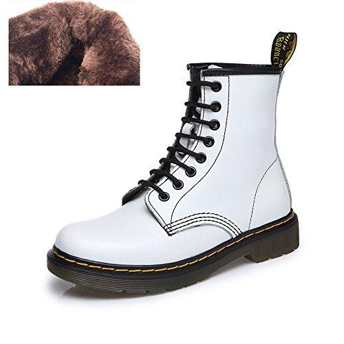 uBeauty - Bottes Femme - Martin Bottes - Boots Flattie Sport - Chaussures Classiques - Bottines À Lacets Velours blanc