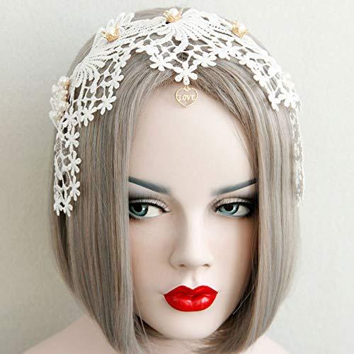 Muzhili3 Spitze Blume Faux Pearl Crown Frauen Hairband Stirnband Schmuck Haarschmuck