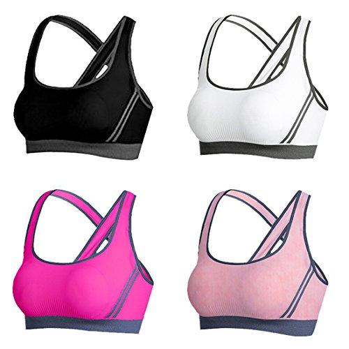 Vertvie 4er Pack Damen Sport BH Komfort Starker Halt Gepolsterter Push up Ohne Bügel Sport BH Bustier für Yoga Fitness-Training(S: 70A/70B/70C/70D, Schwarz+Weiß+Fuchsie+Rosa)