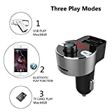 FirstE Bluetooth FM Transmitter, Car Radio Audio Adapter MP3 Player Handsfree Car Kit with Dual USB Charger Ports 5V/3.1A, LED Display Car Voltage, Play TF Card/USB Flash Drive for iPhone,iPad,Samsung