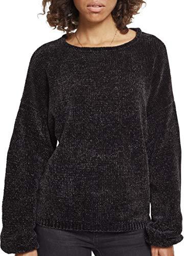 Urban Classics Damen Ladies Oversize Chenille Sweater Sweatshirt, Schwarz (Black 00007), Large -