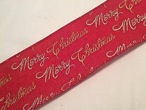 Groves & Banks Weihnachtsband, Weihnachtsborte, 2Meter, Red Burlap Silver Gold