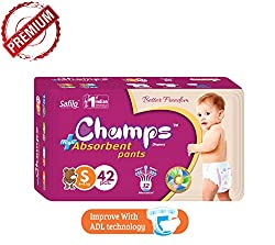 Champs Diapers High Absorbent Pant Style Diaper (Small, 42 Pieces) White