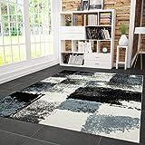 VIMODA Teppich Modern Designer Abstrakt Kariert Meliert Farbe Turkis Grau Schwarz 160x230 cm