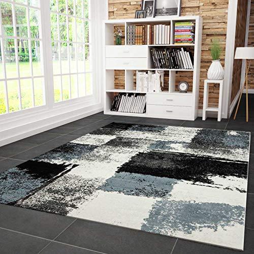 VIMODA Teppich Modern Designer Abstrakt Kariert Meliert Farbe Turkis Grau Schwarz 80x150 cm
