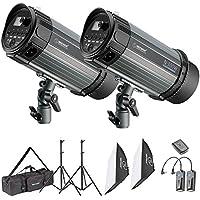 Neewer 600W Studio Strobe Flash Licht Fotografie Beleuchtung Set: (2)300W Monolicht Flash,(2)Lichtständer,(2)Softbox,(1)RT-16 Drahtloser Auslöser,(1)Tasche für Videoaufnahmen und Portrait Fotografie