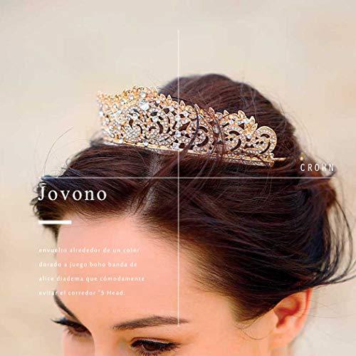 jovono Hochzeit Kronen und Tiaras für Brautschmuck Diadem gold Krone Haar Zubehör für Frauen