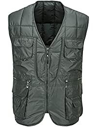 Zhhlaixing Buena tela Mens Autumn Winter Thick Vest Cotton Padded Fishing Vest Gift for Father's Day