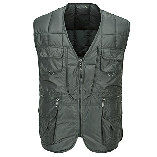Zhuhaitf Fischweste Mens Fashion Multi-pockets Cotton Vest Jacket Outdoor Coat Outerwear Size:XL-4XL Green