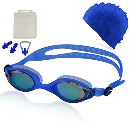 Occhialini da nuoto »Barracuda« + cuffia + tappi per le orecchie + stringinaso + 100% protezione raggi UV + anti-appannamento. Silicone di pregiata qualità + confezione rigida. AF-400m, blu