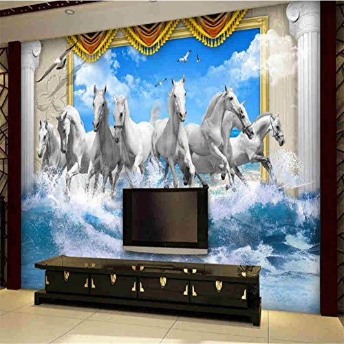 Tapeten Wandbild Hintergrundbild Fototapetebenutzerdefinierte Tapeten Roman Pole Weißes Pferd Pentium Blue Sky Spray Welle Fototapete Papel De Parede 3D Wallpaper, 200 * 140 Cm