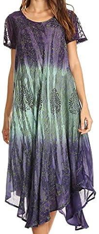 Sakkas 17802 - Samira Color Block Printed Sheer Cap Sleeve Relaxed Fit Dress | Cover Up - Purple -