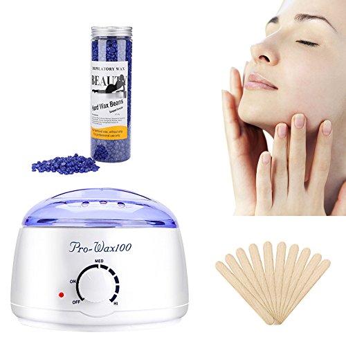 Wax Warmer, Enthaarungsset mit 400g Hartwachs-Bohnen für die Haarentfernung von Bikini an Achseln mit 10 Wachs-Applikatoren. -