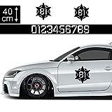 Startnummer Aufkleber Auto 40cm - Motiv 16, Stern, US-Air Force Seitenaufkleber Wunsch-Nummern