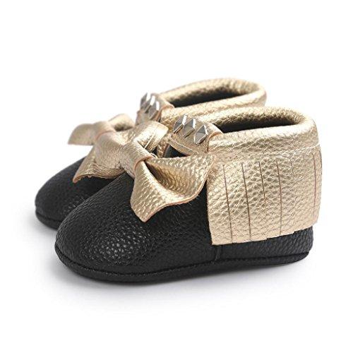 Baby schuhe Jamicy® Baby Bowknot Streifen Niet weiche Sohle Schuhe Kleinkind Turnschuh beiläufige Schuhe (6~12 Monat, Blau) Gold
