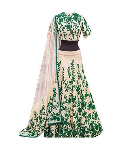 Muta Fashions Green Banglory Cotton Latest Design Women ( LEHENGA11_Green )