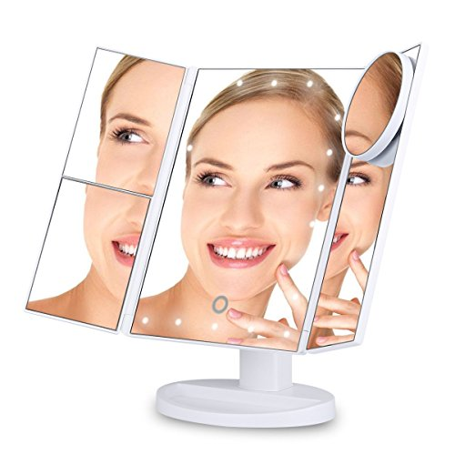 Ovonni Espejo maquillaje con luz, 22 Luces LED, Aumento 10x, 3x, 2x, 1x, Pantalla táctil, Triple plegable, 180 grados Ajustables, Espejo de Mesa Tríptica, Dia de la madre Regalo