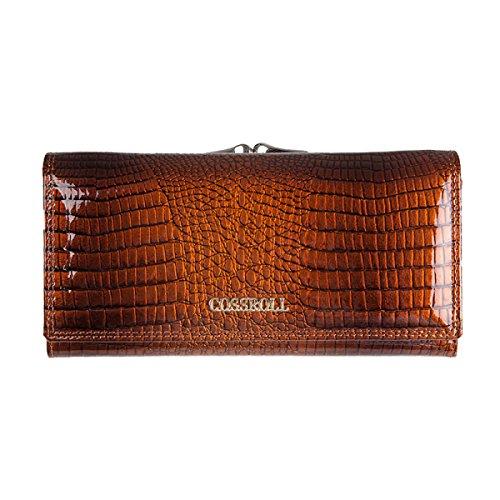 Handtasche Echtes Leder Damen Krokodil-Muster Weiche Brieftasche Womens Multi Color Flip Case Geldbörse Lange Kupplung Damen Hangbags,Brown-OneSize