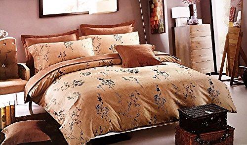 Komplett Set Luxus–Steppdecke Bettwäsche-Set mit Kissen, Bettlaken und Kissenbezug (Doppelbett/King Size) (King) (König), hellbraun, King Size