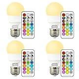 Jayool Ampoules à LED Changement de Couleur, Dimmable 3W E27 Vis RGBW Ampoules, 12...