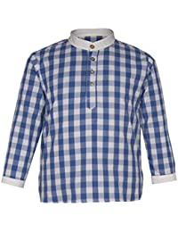 Gron 100% Organic Cotton Blue White Checkered Shirt For Girls