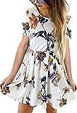 Angashion Damen Langarm Kleid A-line Knielang Blumen Herbst Kleid Retro-Look Abendkleid Casualkleid Partykleid Weiß 1 XL