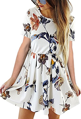 Angashion Womens Dresses Casual Floral Print Long Sleeve Swing Pleated Skater A Line Mini Dress White 1 XL