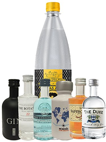 Gin Probierset 1 x Nordes Gin 5cl + Botanist 5 cl + Duke 5 cl + London Blue 5 cl + Saffron 5cl + Black Gin 5cl, 1 Liter Thomas Henry Tonic